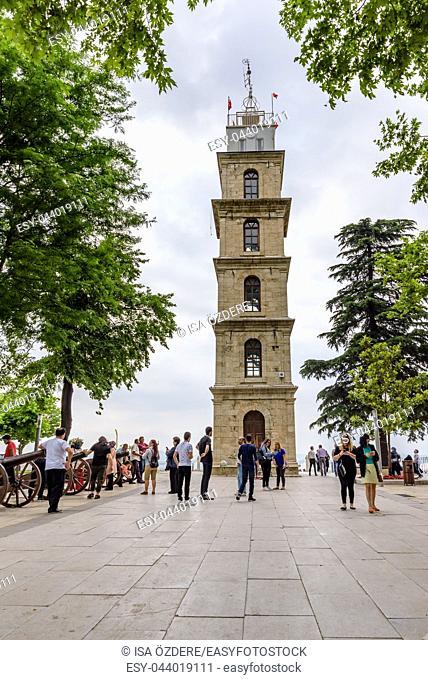 People visit historical tophane Clock Tower in Bursa,Turkey. 20 May 2018