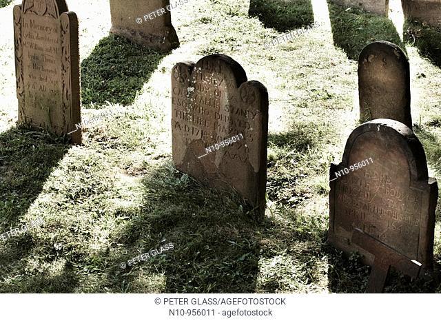 Old headstones in a graveyard