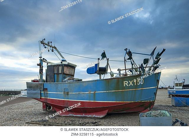 Fishing boats on Hastings beach in East Sussex, England