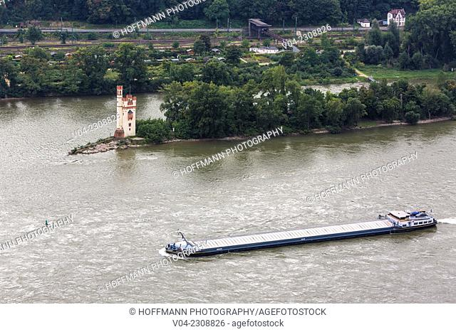 Mouse Tower of Bingen (Binger Mäuseturm) and Rhine river, Rhineland-Palatinate, Germany, Europe