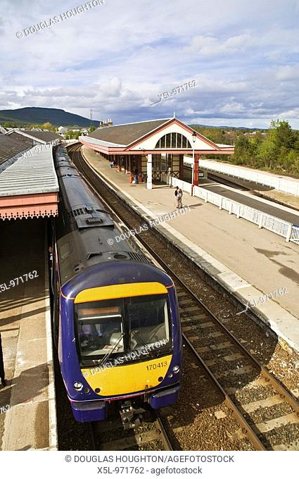 Aviemore railway station AVIEMORE INVERNESSSHIRE First Scotrail Class 170 Bombardier Turbostar unit 170413 at platform