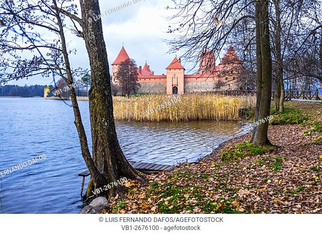 Island castle on Galve lake in Autumn, Trakai, Lithuania
