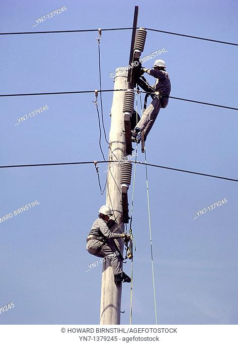 close view of two linesmen at work up their pole set against a clear blue sky