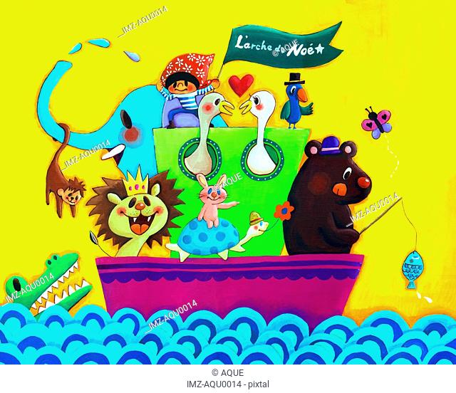 A group of animals in an arc or boat