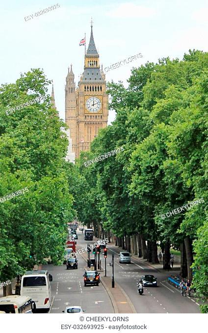 Big Ben road and trees