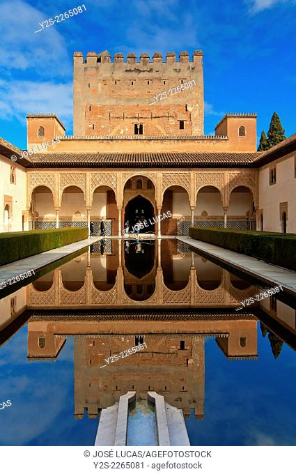 Court of the Myrtles and Comares Tower, The Alhambra, Granada, Region of Andalusia, Spain, Europe