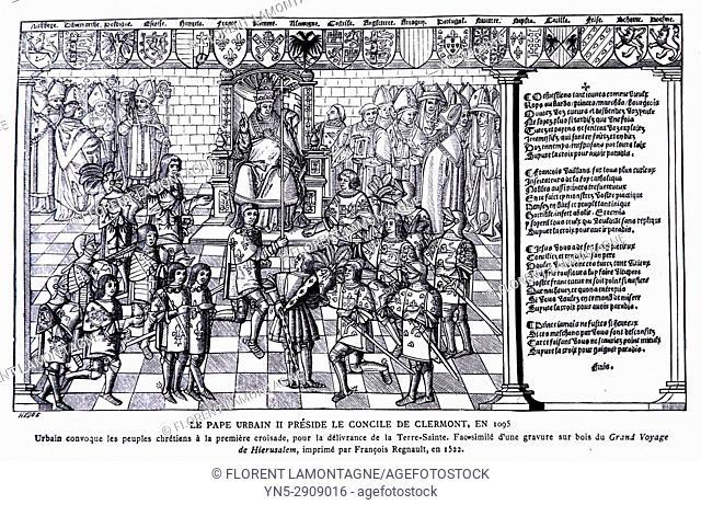 Illustration Pape Urbain II préside le Concile de Clermont, pope, council
