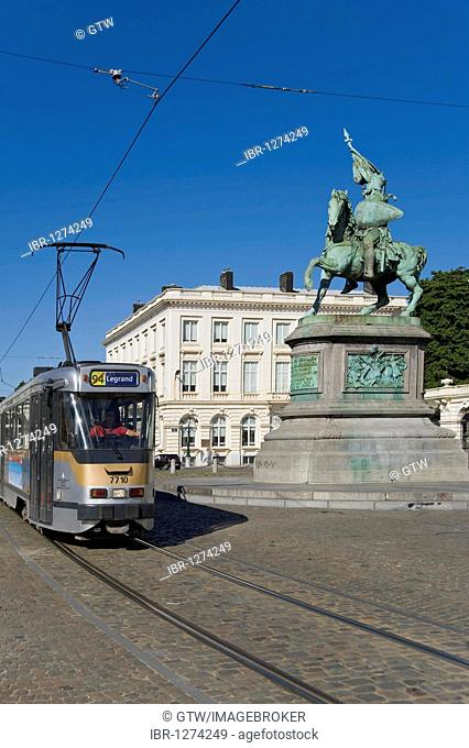 The Royal Square, Place Royale, Tram and Godefroid de Bouillon statue, Brussels, Brabant, Belgium, Europe