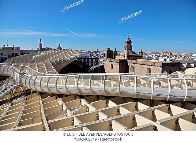 Panoramic view from Metropol Parasol building Seville, Seville, Spain
