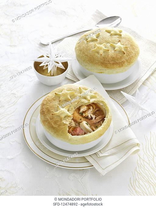 Christmas pies with seafood