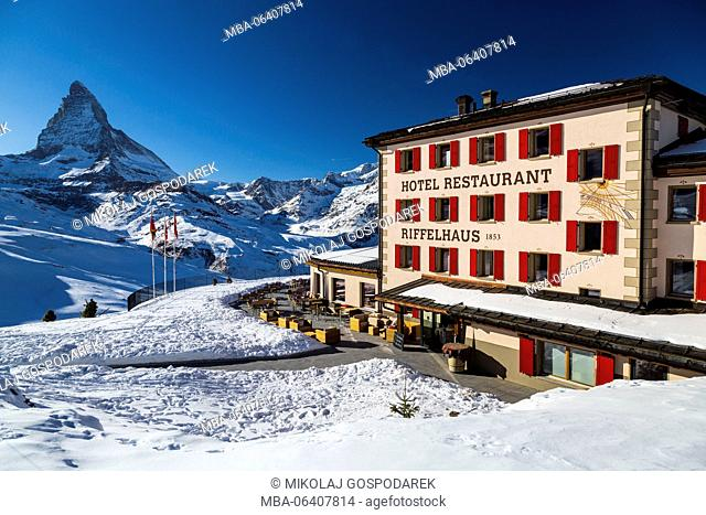 attraction,attractions,beauty in nature,berghotel,canton Valais,color image,exterior view,hotel,house,landscape,landscapes,matterhorn,Mattertal,mountain hotel