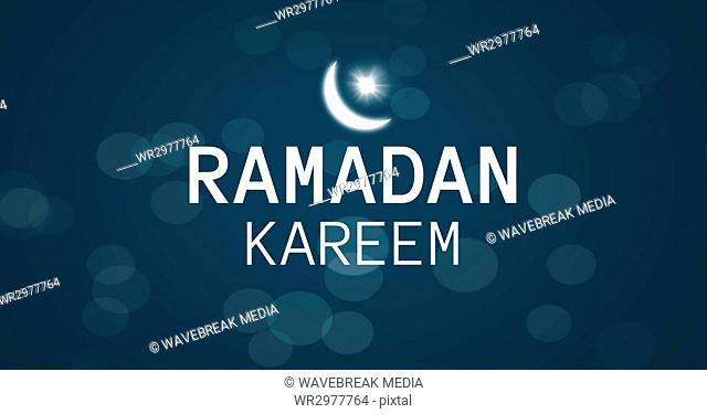 White Ramadan graphic with flare and bokeh against blue background