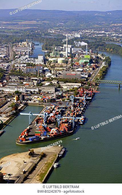 custom harbor at Rhine river, Germany, Rhineland-Palatinate, Mainz