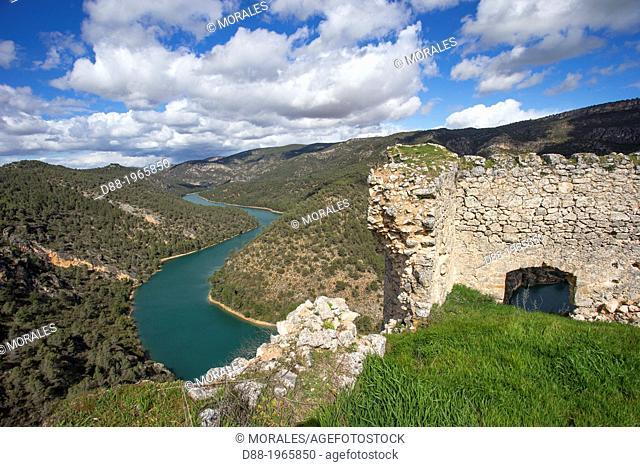 Spain , Castilla La Mancha , surroundings of Guadalajara , landscape , The Tagus valley from the Anguix castle