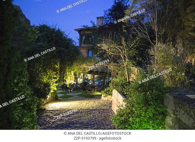 La posada de Santa Quiteria is a luxurious and rustic hotel in Somaen Soria province Spain. The garden by night