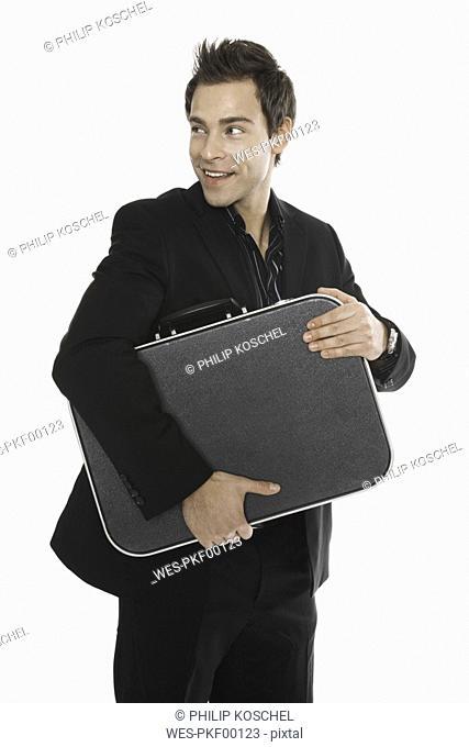 Man holdig money case, close-up