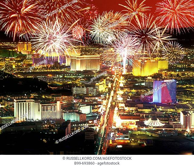 Hotels Casinos. The Strip Las Vegas. Nevada. USA