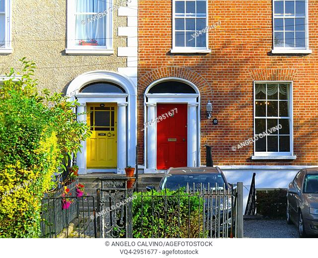 Colorful british doors in a residential Area in the surrounding of St Stephen's Green, public park in Dublin in the city centre, Ireland, Europe