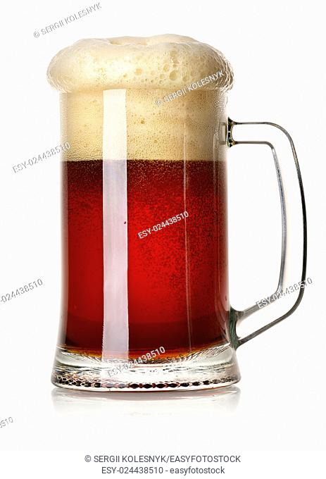 Mug of red beer isolated on a white background