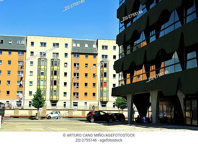 Contemporary architecture in Friedrichshain-Kreuzberg district. Berlin, Germany
