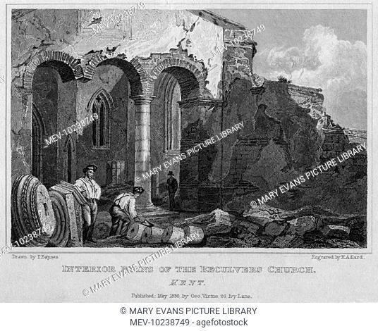 Ruins at Reculver Church, on the north Kent coast near Herne Bay