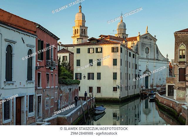 Sunrise in sestiere of Dorsoduro, Venice, Italy