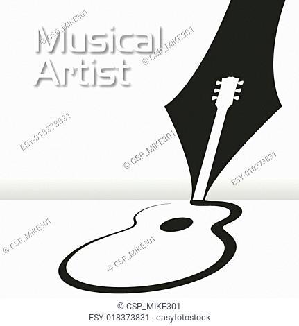 A pen draws a guitar