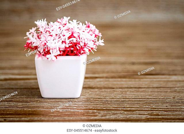 Artificial pink plants in white flowerpots on brown wooden background