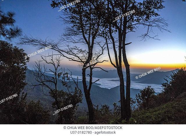 Sunrise scene and sea of fog at Phatang Hill in Chiangrai, Thailand