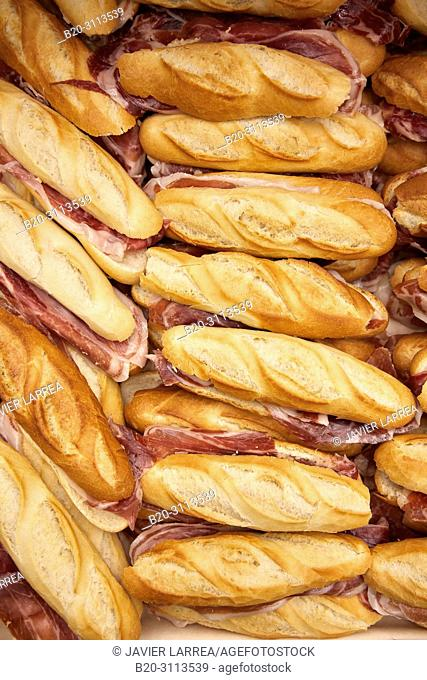 Ham sandwich, Catering in congress, Kursaal Congress Palace, Donostia, San Sebastian, Gipuzkoa, Basque Country, Spain, Europe