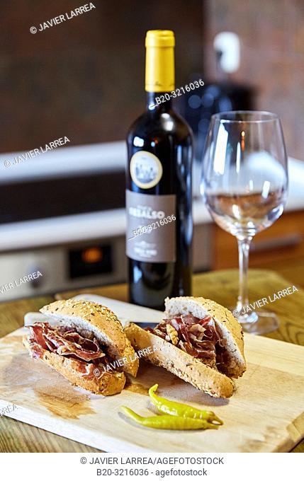 sandwiches and wine bottle, Basque farmhouse, Deba, Gipuzkoa, Basque Country, Spain, Europe