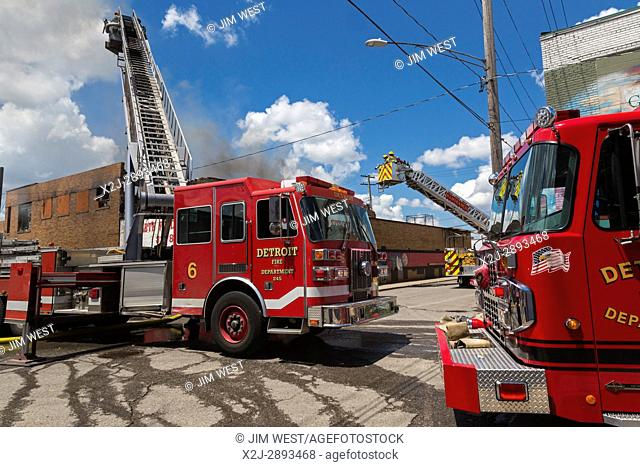 Detroit, Michigan - Firefighters from Detroit and Hamtramck fought a three-alarm blaze at a food warehouse in Detroit's Eastern Market district