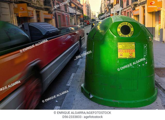 Glass container and public bus, Valencia, Spain