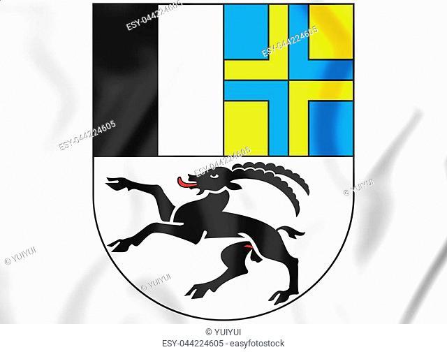 3D Graubunden Coat of Arms, Switzerland. 3D Illustration