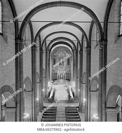 Europe, Germany, Rhineland-Palatinate, Maria Laach Abbey, view from the organ gallery in nave, choir and apse and to the ciborium / altar