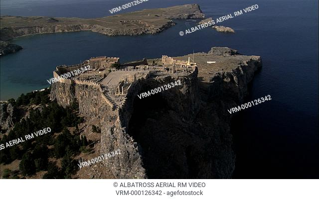 Aerial HD video of the city Lindos in the Island Rhodes, Rodos, Focusing on the archaeological site