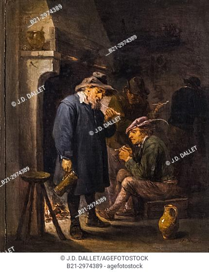 "France, Nouvelle Aquitaine, Dordogne, """"Musée du Tabac"""" (Tobacco museum), a Bergerac: Painting by David Teniers the young (1610-1690) (Flemish school) od the..."