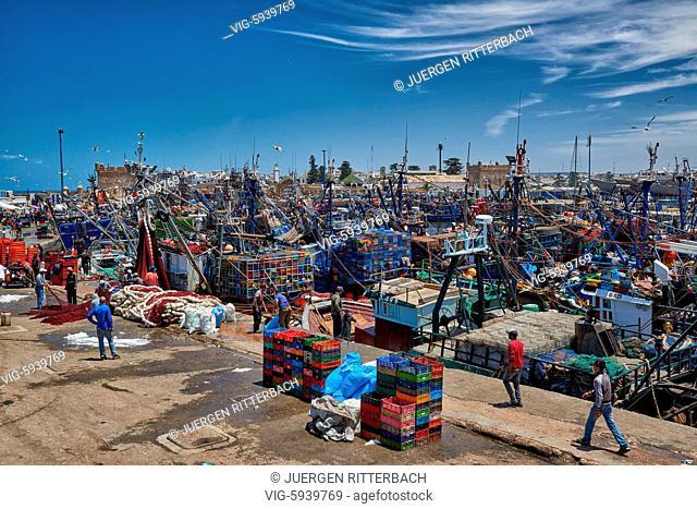 MOROCCO, ESSAOUIRA, 27.05.2016, fishing boats in harbor of Essaouira, UNESCO world heritage site, Essaouira, Morocco, Africa - Essaouira, Morocco, 27/05/2016