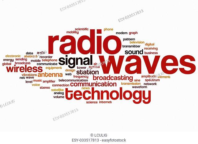 Radio waves word cloud concept