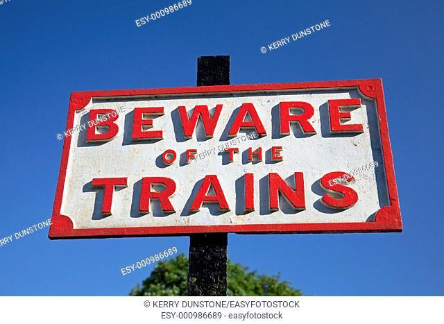England Devon Staverton Station Notice 'Beware of the Trains'