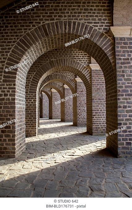 Brick archways in restored amphitheater