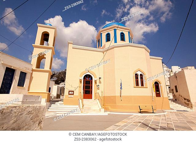 Colorful church in town center Hora, Serifos, Cyclades Islands, Greek Islands, Greece, Europe