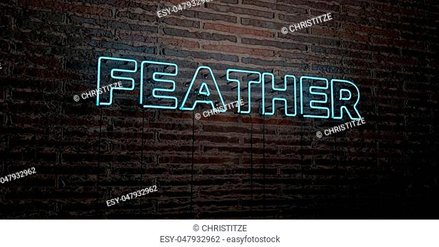 FEATHER -Realistic Neon Sign on Brick Wall background - 3D rendered royalty free stock image. Can be used for online banner ads and direct mailers