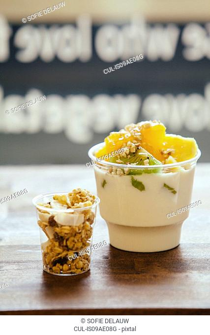 Still life of fruit and yoghurt breakfast and granola