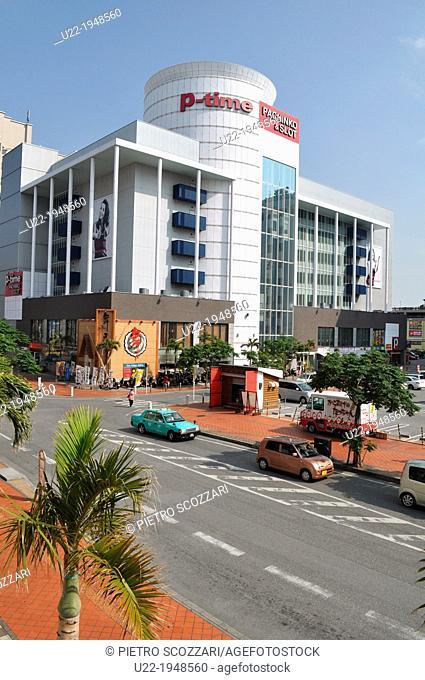 Naha, Okinawa, Japan, big pachinko parlor in Shintoshi