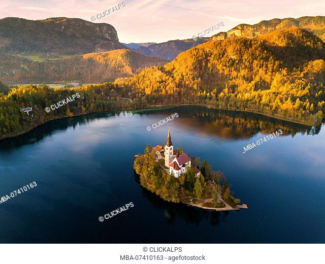 Bled Island and Lake Bled. Bled, Upper Carniolan region, Slovenia