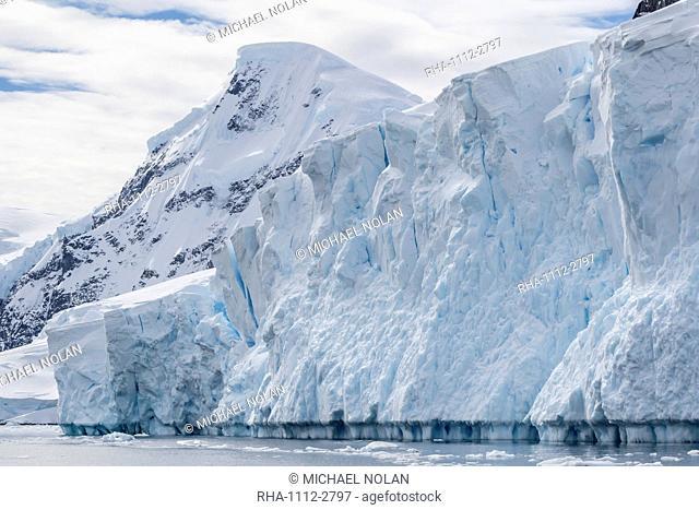 Tidewater glacier face detail in Neko Harbor, Antarctica, Polar Regions