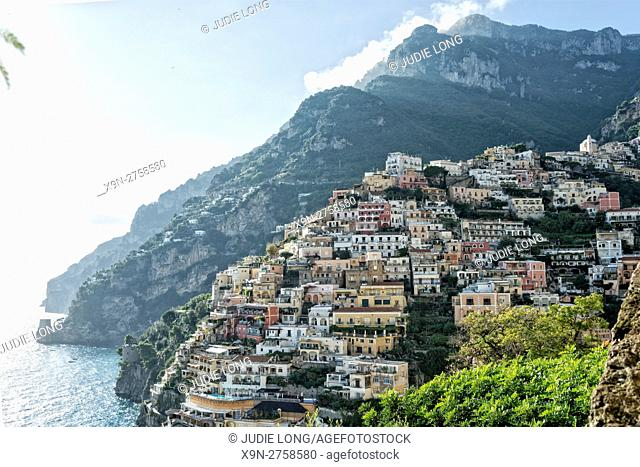 Looking East at the Sea, Mountains, and Village of Positano, Amalfi Coast, Italy, Cascading up the Mountainside