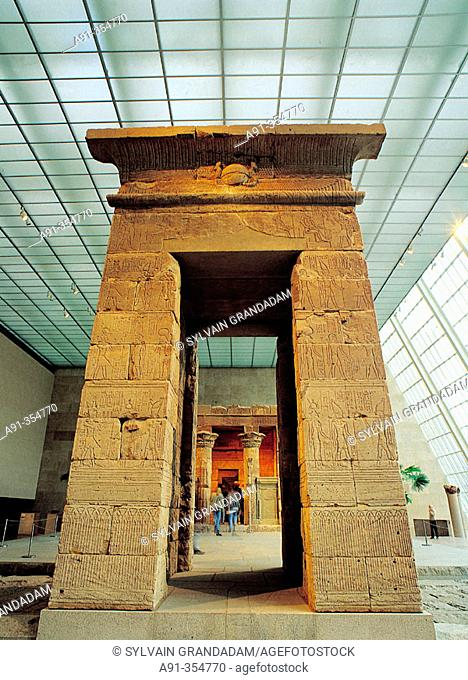 Temple of Dendur in the Metropolitan Museum of Art. New York City. USA