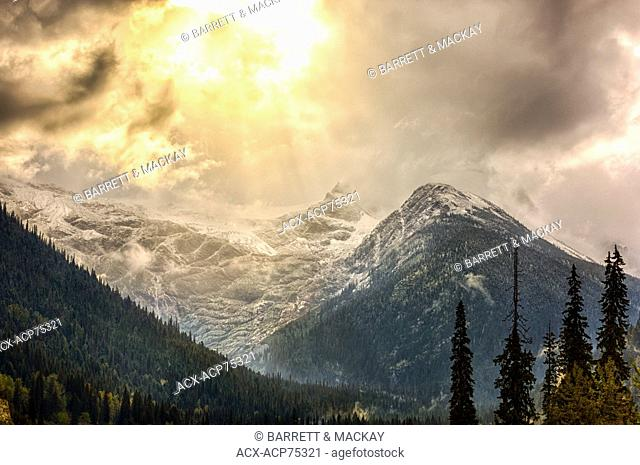 View from Trans-Canada Highway of Cheops Mountain, Glacier National Park, Columbia-Shuswap, British Columbia, Canada